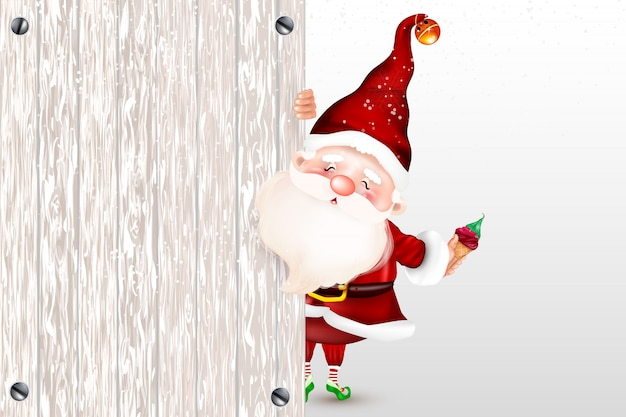 Happy smiling santa claus standing behind a blank sign, showing a big ltht blank sign. christmas card. symbol of the nativity of christ. merry christmas.