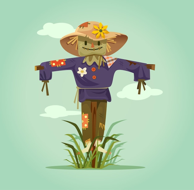 Happy smiling scarecrow character