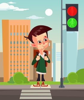 Happy smiling school boy pedestrian character waiting for green traffic light