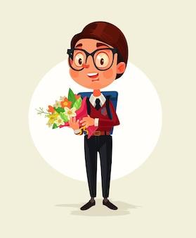 Счастливый улыбающийся школьник держит букет цветов для своего учителя иллюстрации шаржа