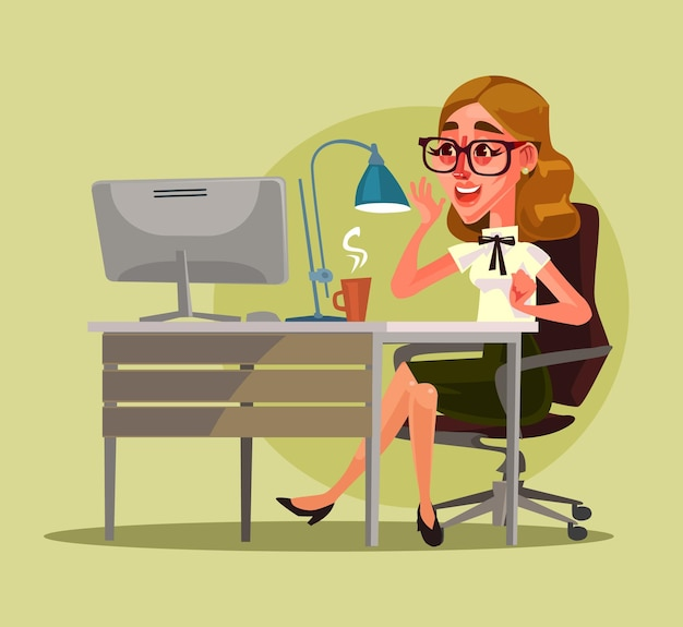 Happy smiling secretary woman character