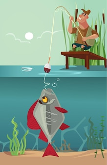 Happy smiling sitting fisherman character pull big huge enormous fish on fishing pole hook bite from lake. design