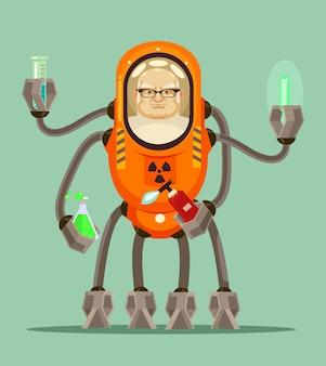 幸せな笑顔のスマートマッドサイエンティストの男ロボットサイボーグキャラクターは彼の鉄の手で液体とフラスコを保持します