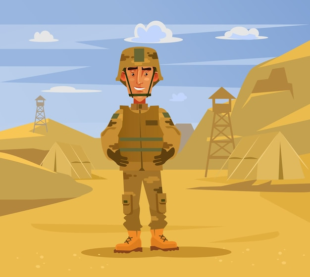 Happy smiling soldier man character standing on camp background