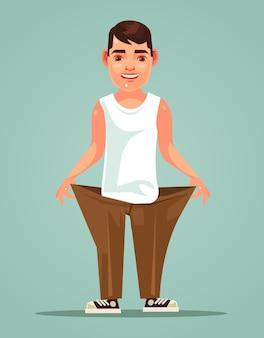 Счастливый улыбающийся сильный тонкий мужчина плоский мультфильм иллюстрации