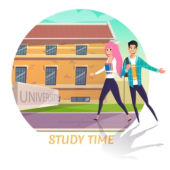 Happy smiling students back to university cartoon