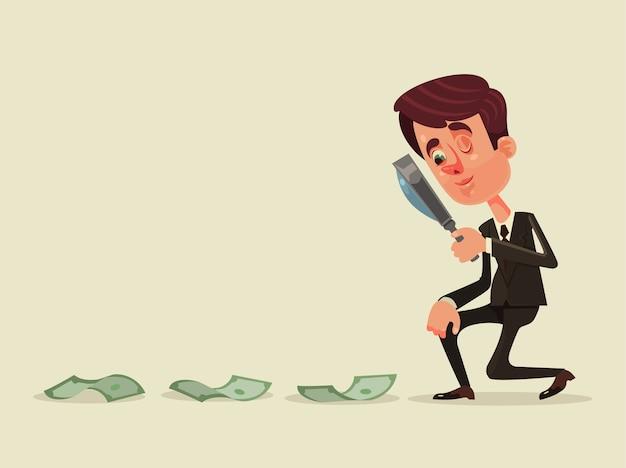 성공 돈을 이익 경력 개념 디자인 그래픽 고립 된 그림을 찾고 행복 미소 성공적인 사업가 회사원 문자