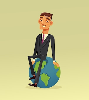 Happy smiling successful businessman office worker character sitting on planet earth