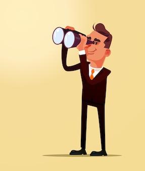 Счастливый улыбающийся успешный бизнесмен офисный работник человек персонаж, глядя на идею будущего самолета через бинокль