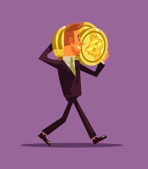 Happy smiling successful businessman office worker miner character carrying bitcoins. cryptocurrency millionaire and new technology concept.  flat cartoon illustration