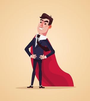 Happy smiling successful office worker businessman character super hero flat cartoon illustration