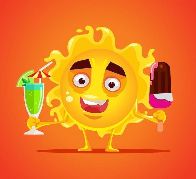 Счастливый улыбающийся персонаж солнца с холодным напитком и мороженым плоской карикатурой