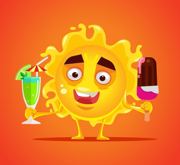 Happy smiling sun character with cold drink and ice cream flat cartoon illustration