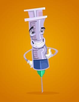 幸せな笑顔の注射器マスコット キャラクター フラット漫画イラスト