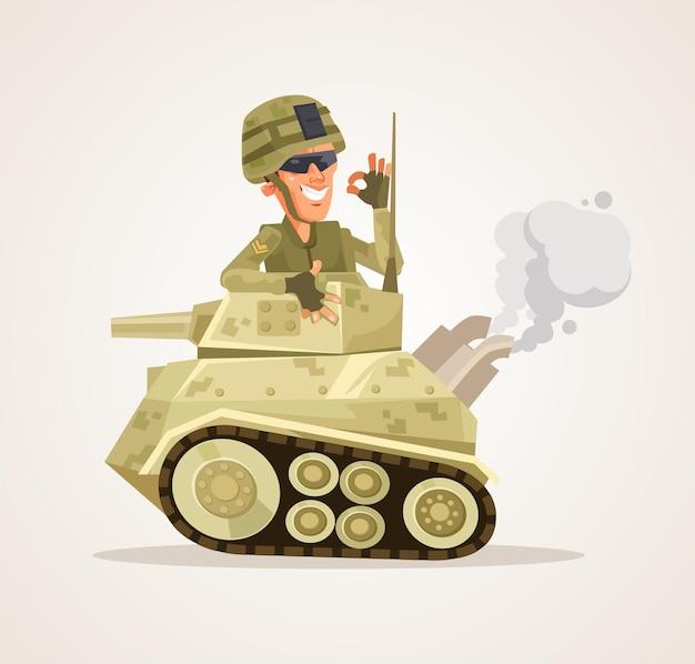 Счастливый улыбающийся танк персонаж плоский мультфильм иллюстрации Premium векторы