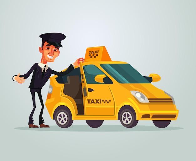 幸せな笑顔のタクシー運転手キャラクターは、彼の車のフラット漫画イラストで旅行に招待します