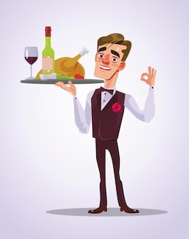 Happy smiling waiter man character with food tray flat cartoon illustration