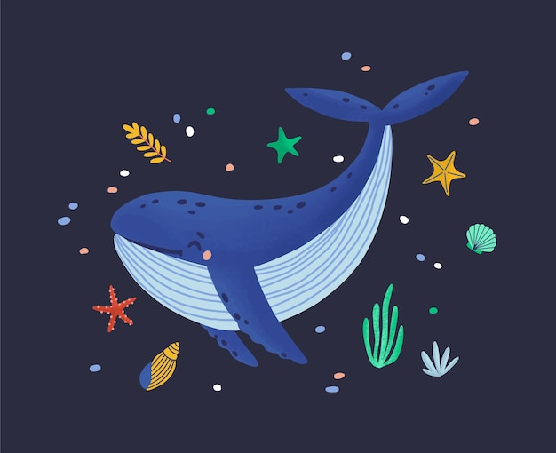 Счастливый улыбающийся кит, изолированные на темном фоне