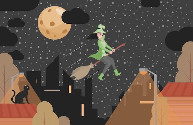 Счастливая улыбающаяся ведьма в зеленой одежде, летящая на метле вектор