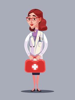 행복 하 게 웃는 여자 의사 캐릭터 보류 케이스