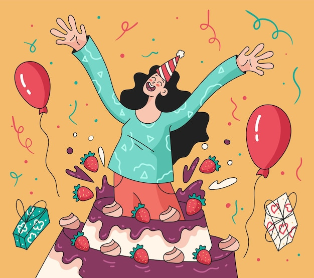 Happy smiling woman girl character jumping from big cake