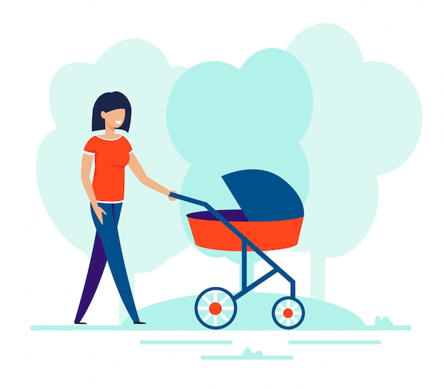 Happy smiling woman walking with baby in pram