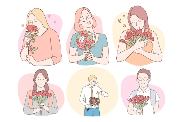Happy smiling women cartoon characters