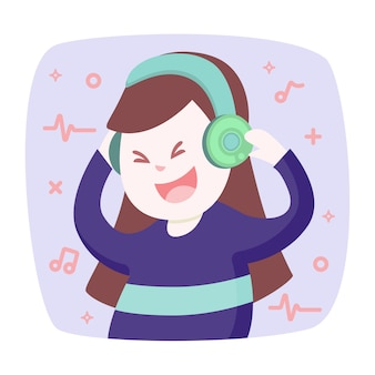 Happy smiling young woman listens to music