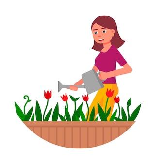 행복 한 미소 젊은 여자에서 개화 꽃에 물을 수 흰색 절연