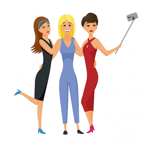 Happy smiling young women friends taking selfie photo vector illustration. friend girls taking selfie photographing