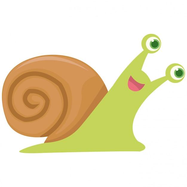 Happy snail walking to get food