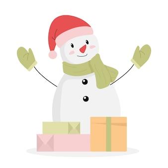 Счастливый снеговик и рождественские подарки