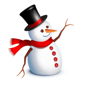 Счастливое приветствие снеговика с рукой