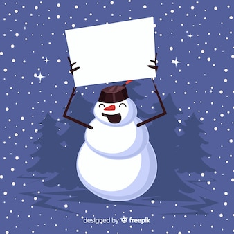 Happy snowman holding blank sign