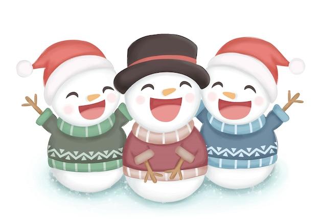 クリスマスの装飾のための幸せな雪だるまイラスト