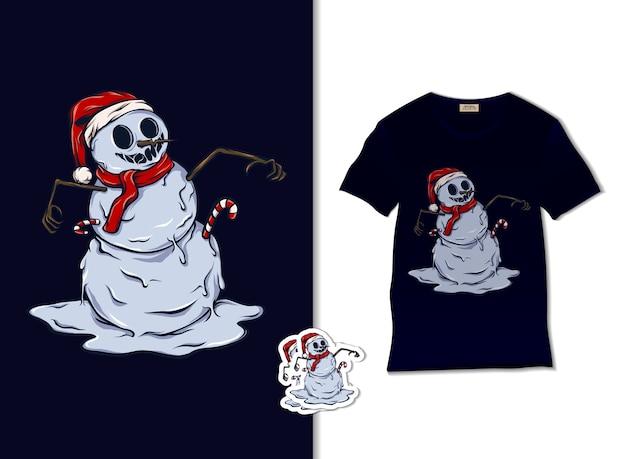 Tシャツのデザイン、手描きのクリスマスイラストで幸せな雪だるま