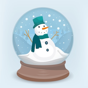 Happy snowman inside crystal ball