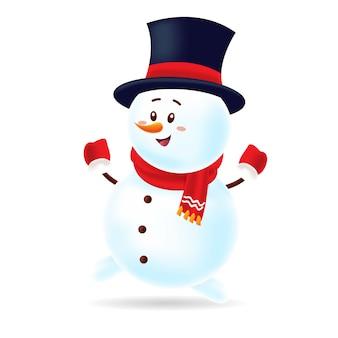 검은 모자와 빨간 스카프 춤으로 행복 한 눈사람