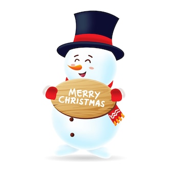 Happy snowman withs black hat and red scarf carrying a christmas wood board with isolated