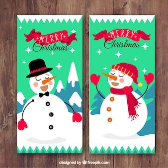 Happy snowmen mery christmas banners