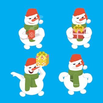 Happy snowmen wear red hat set