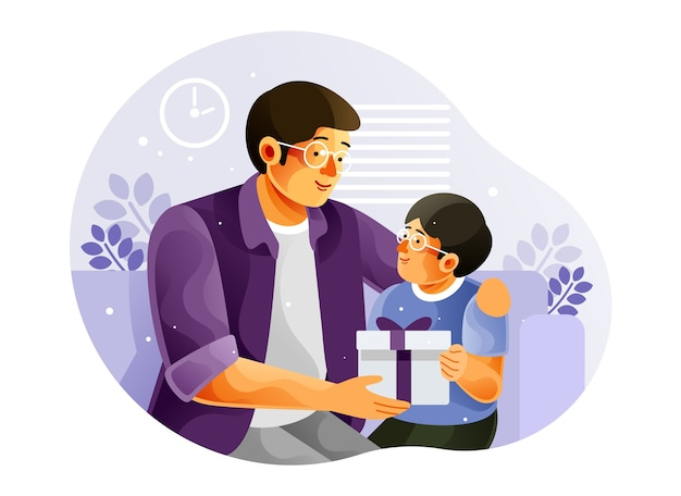 Happy son gives his father gift Premium Vector