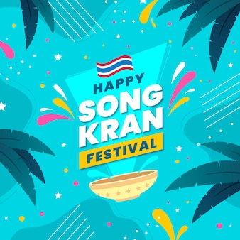 Happy songkran festival flat design and leaves