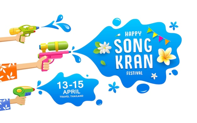Happy songkran festival thailand gun in hand water splash collection banners background,  illustration