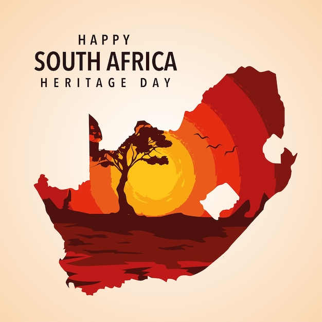 Happy south africa heritage day illustration