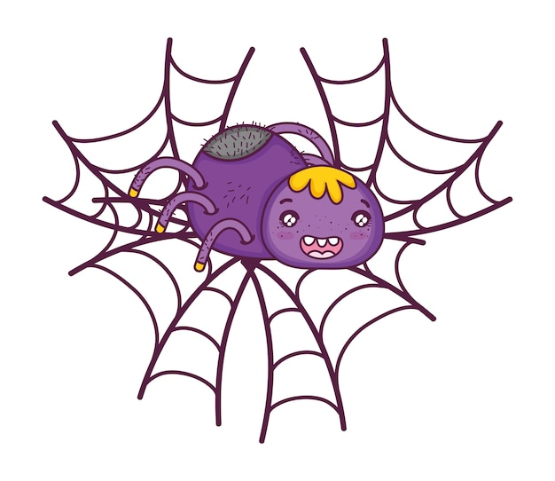 Happy spider character animal in the spiderweb
