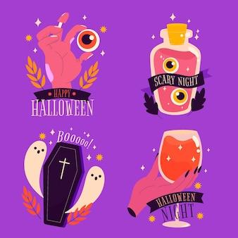 Felice collezione di etichette di halloween spettrale