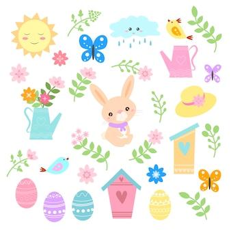 春の花の中でかわいいウサギの幸せな春とイースターのデザイン