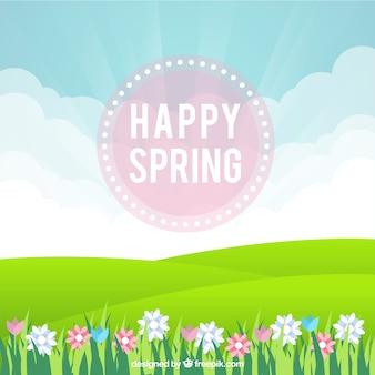 Primavera sfondo felice con prato e fiori