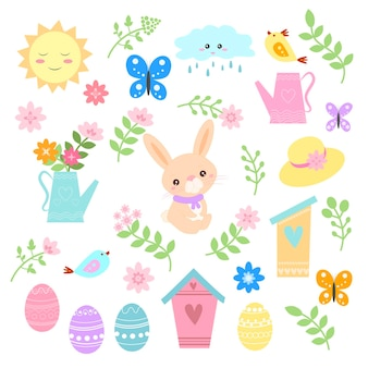 Happy spring and easter design of cute bunny among spring flowers